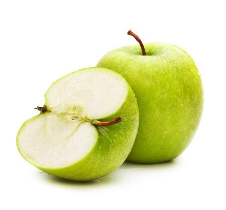 manzana verde: manzanas verdes frescas aisladas sobre fondo blanco