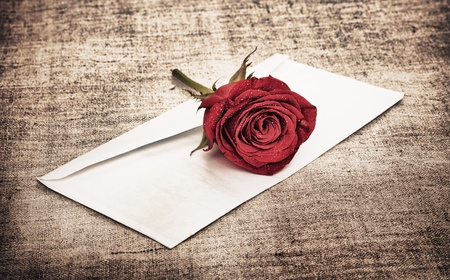 red rose on old canvas and blank envelope, template photo