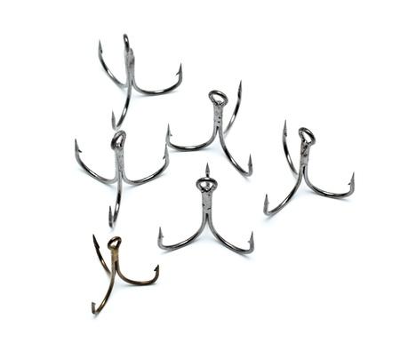 many fishing hooks isolated on white background Stock Photo - 9782758