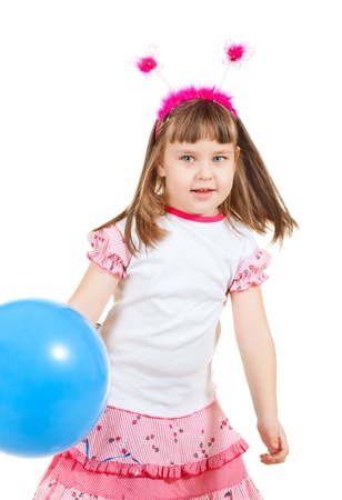 funny little girl with balloons, isolated on white photo