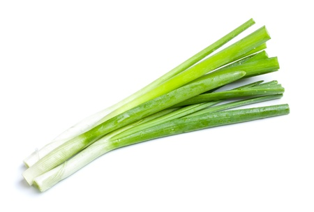 leeks: fresh green onions isolated on white background