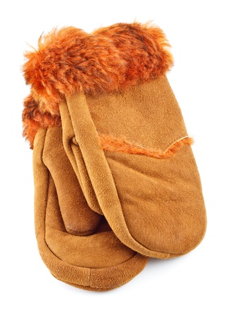 fur suede mittens isolated on white background photo