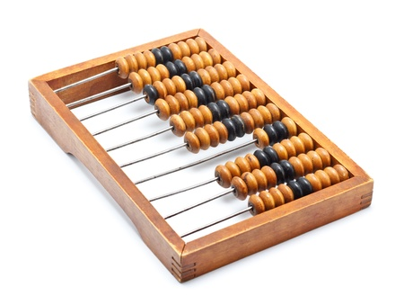 compute: old wooden abacus isolated on white background Stock Photo