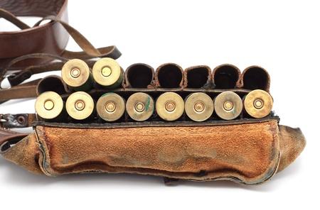 vintage ammunition belt isolated on white background photo