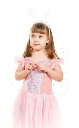 girl with butterfly wings isolated on white background photo