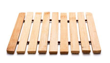 trivet: square, wooden trivet isolated on white background Stock Photo
