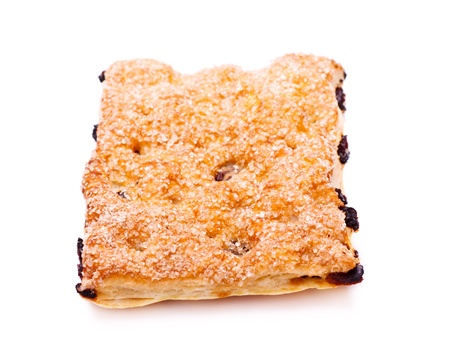 pone: pone pie with raisins isolated on white background Stock Photo