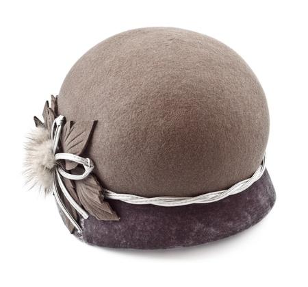felt female cap isolated on white background Archivio Fotografico