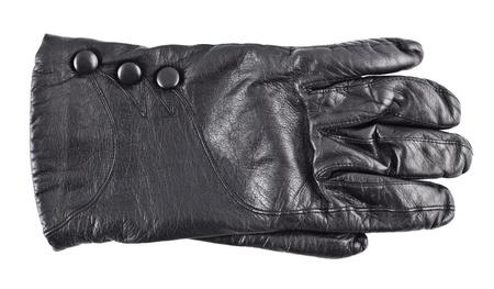 black females leather glove isolated on white photo