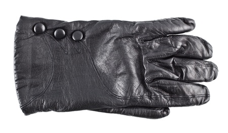 leather glove: black females leather glove isolated on white