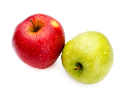 two fresh apples isolated on white background photo