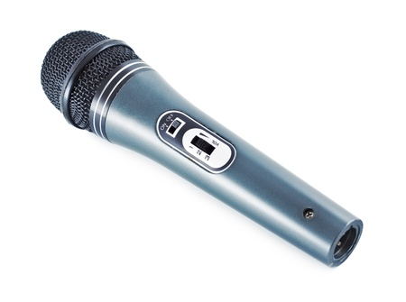 gray vocal microphone isolated on white background Stock Photo