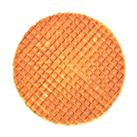 waffle: dutch waffle with caramel isolated on white background
