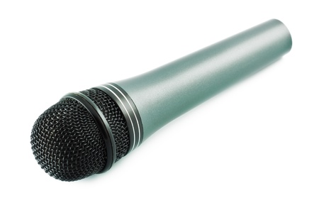 vocal: gray vocal microphone isolated on white background Stock Photo