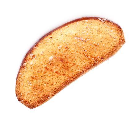 biscotte: biscotte dans le c�t� de sucre isol� sur blanc