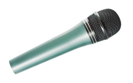 gray vocal microphone isolated on white background photo
