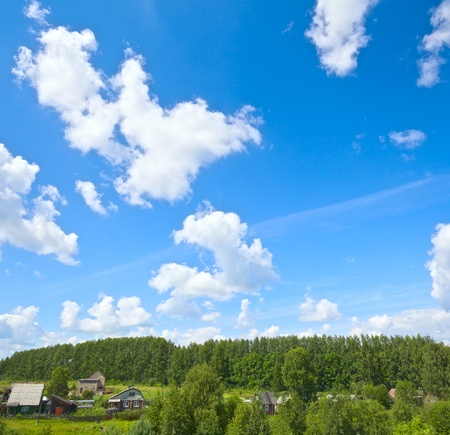 russian village at sunny summer day, high angle view photo
