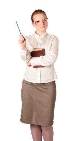 Strenge Lehrerin mit großen Buch isoliert auf weiß Standard-Bild - 11158018