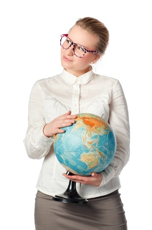 pretty teacher with globe dreaming about something Stock Photo - 11158021