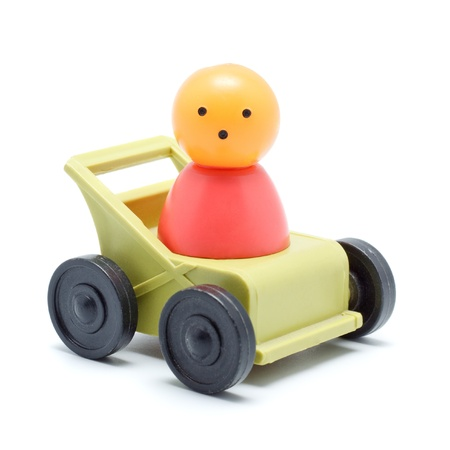 toy man sitting in car, isolated on white Stock Photo - 11158010