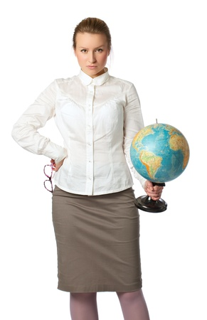 angry teacher with globe looking, white background photo