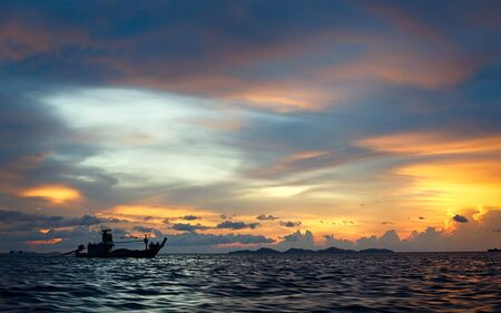 beautiful sunset over Andaman Sea, in Thailand photo