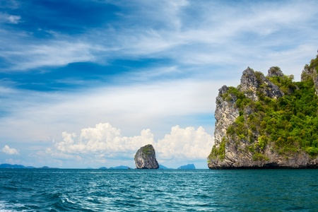 tall cliff with trees at Andaman Sea, Thailand Stock Photo - 12595860