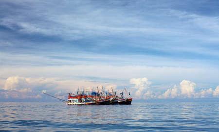 fishery trawlers group in Andaman Sea, Thailand photo