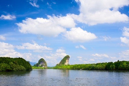 tall cliff with trees at Krabi, Thailand photo