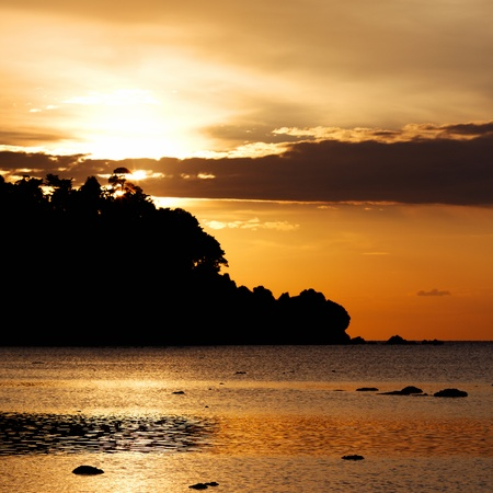 sunset over Andaman Sea, Koh Libong, Thailand photo