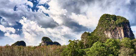 mountains with green trees in Krabi, Thailand photo
