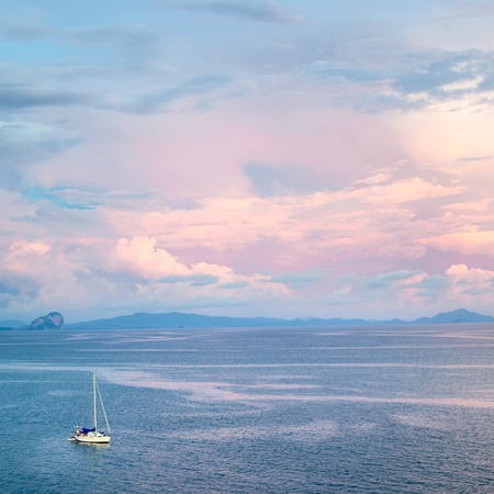 yacht in sea at sunset, aerial view, Thailand Stock Photo - 12998125