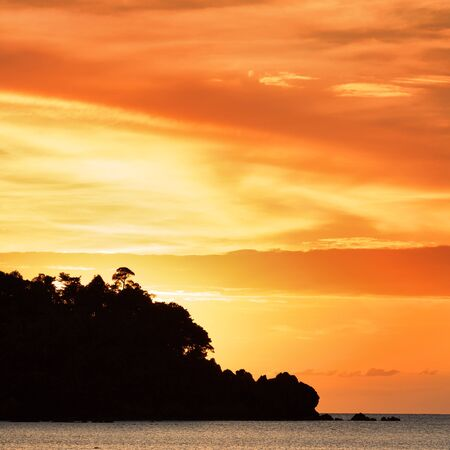 sunset over Andaman Sea, Koh Libong, Thailand photo