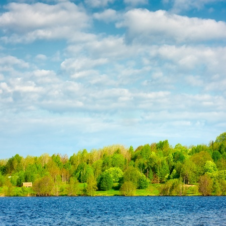 landscape with blue lake and green forest Stock Photo - 12998135