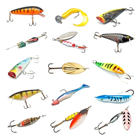 trout fishing: different fishing baits isolated on white background