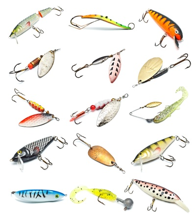 different fishing baits isolated on white background photo
