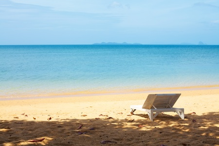 chaise lounge on a beach at summer day Stock Photo - 13194701