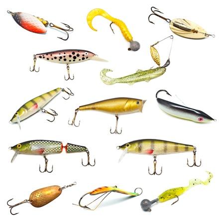 freshwater fishing: different fishing baits isolated on white background