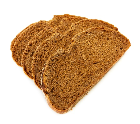 pieces of rye bread isolated on white background photo