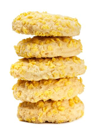 homemade cookies with cornflake pieces isolated on white photo
