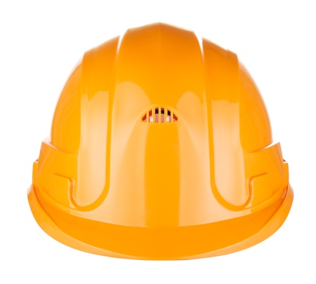 orange helmet for builder worker, isolated on white photo