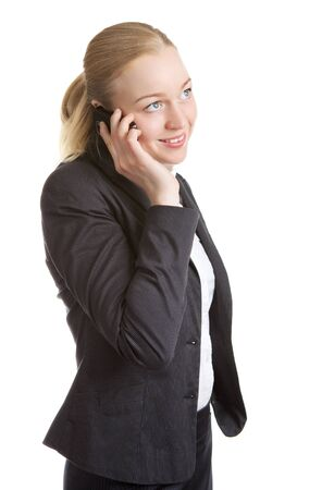 happy business woman talking on cell phone, isolated on white Stock Photo - 14485595