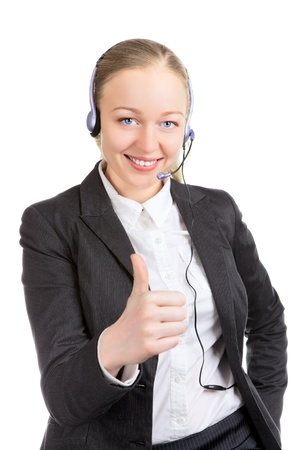 businesswoman with headset thumbs up, isolated on white photo