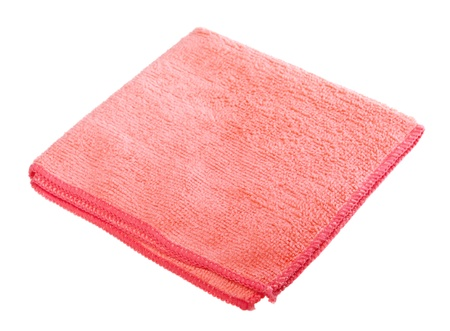 pink microfiber duster isolated on white background photo