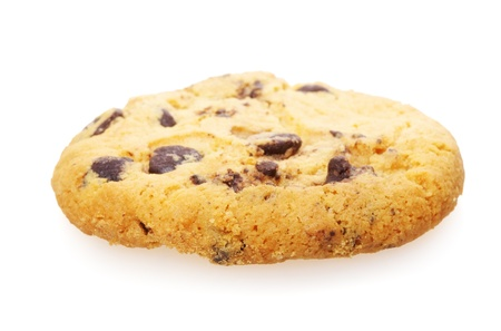 homemade cookie with chocolate pieces isolated on white photo
