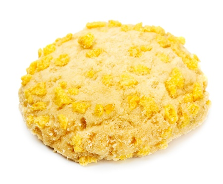 homemade cookie with cornflake pieces isolated on white photo