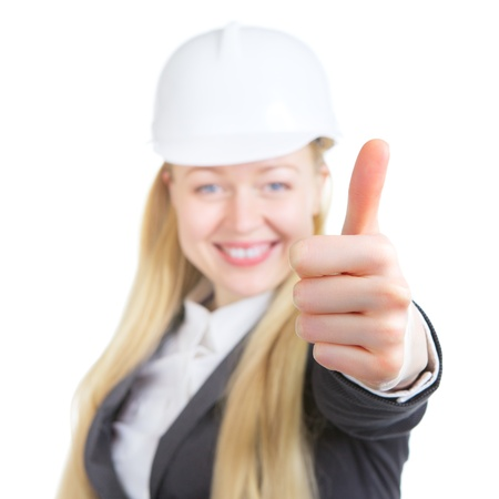 engineer woman thumbs up, isolated on white photo