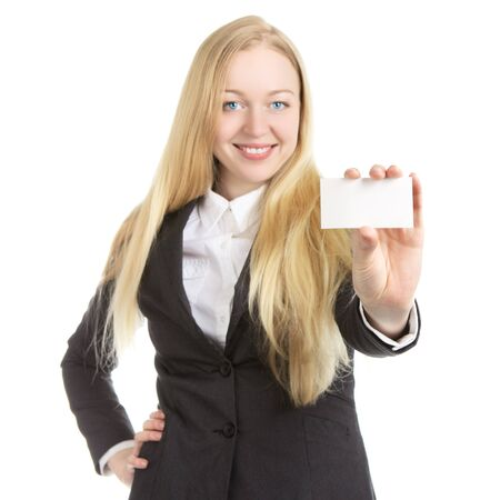 businesswoman shows blank card, isolated on white photo