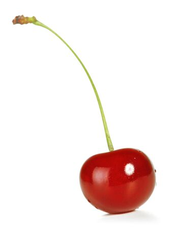 fresh cherry with stem isolated on white photo