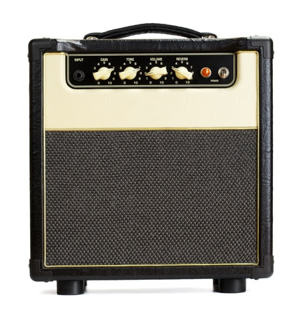 black vintage guitar aplifier, isolated on white